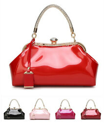 Patent Leather Womens Bridal Handbags Rhinestones Trend Evening Party Bags Totes $30.35