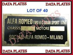 Lot Of 40 Alfa Romeo High Quality Data Plate 1930 -50s Acid Etched Brass
