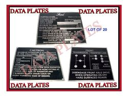 20x Ford Mid Production Aluminum Data Plate Set G503 Wwii Ww2 For Jeep Gpw
