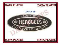 Lot Of 50 Hercules Body Builders Etched Aluminum Data Plate Best Quality