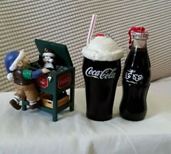 Coca Cola Christmas Ornaments 3 Piece Collectibles, Coke Floats Stand And Bottle