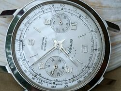Vintage Arnex Chronograph W/silver Dial,patina,divers All Ss Case,runs Strong
