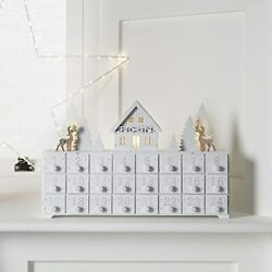 Lights4fun Inc. Pre Lit White Wooden Christmas Advent Calendar Decoration With