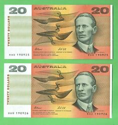 D610. Consecutive Pair 1991 Fraser/cole Paper 20 Banknotes Rhu 190925/26