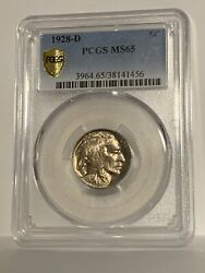 Full Gem Buffalo Nickel Pcgs 1928-d Ms-65 Gold Shield Graded And Very Clean