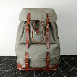 Replicate Swiss Salt And Pepper Rucksack Leather Vintage Canvas Backpack