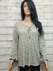 Lucky Brand Gray Floral Long Sleeve Top Size M