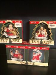 Lot Of 3 Collectible Cocacola Coke Trim-a-tree Christmas Tree Ornaments 1998