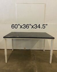 5and039 Metal Lab Table With Black Epoxy Counter Top 60x35x36 Adjustable Legs