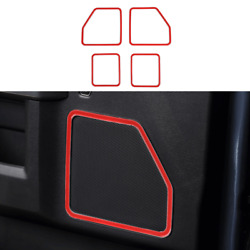 For Ford F-150 2015-2020 Abs Red Interior Inner Door Horn Frame Cover Decoration