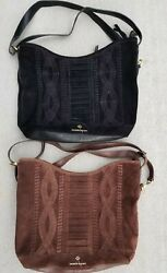 Women#x27;s Lot of 2 NANETTE LEPORE Genuine Suede Leather Shoulder Hobo Bags $55.00