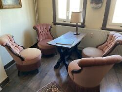Four Part Antique Chairs With Velvet Cover And Table