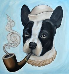 Smokey by Thea Fear Boston Terrier Dog Pipe Tattoo Blue Framed Fine Art Print