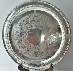 Vtg Silverplate Round Tray Lattice And Scroll Etched Design Rope Edge Wm Rogers
