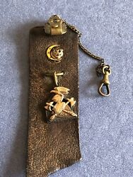 Antique American Masonic Watch Fob Circa 1925 Sterling And 10k Gold