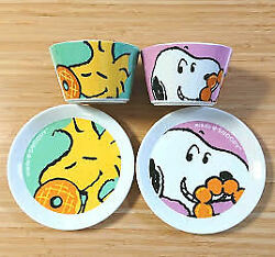Snoopy Woodstock Peanut Mini Cup Bowl X2 And Plate X4 Set Japan Mr.donut Limited