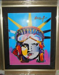 Peter Max 2005 One Of A Kind - Liberty Head Painting   ~ Framed  42.5 x 37
