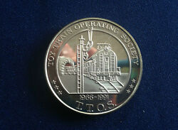 1991 Toy Train Operating Society Ttos 25th Anniversary Proof Silver Medal E5408