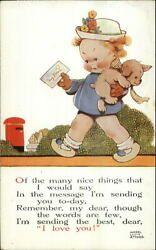 Mabel Lucie Attwell - Little Girl Mailing Letter Carrying Puppy Dog Postcard