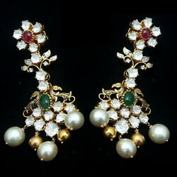 3.80cts Antique Cut Diamond Gemstone Studded Silver Victorian Earring Jewelry