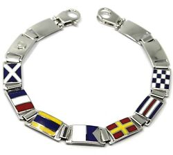 Massive Solid 18k White Gold Bracelet With Big Glazed Nautical Flags, Italy Made