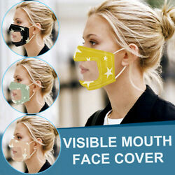 Smile Communicator Face Mask with Clear Vinyl Visible Mouth Cover Lip Reading US $7.51