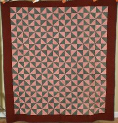 Vintage 1890and039s Oh Mennonite Broken Dishes Antique Quilt Handsome Fabrics