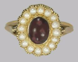 Antique Garnet And Natural Pearl Ring Mid Victorian 18ct Gold Ring Circa 1860