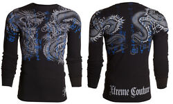 Xtreme Couture AFFLICTION Mens L S T Shirt DOUBLE UP Dragons Tattoo Biker $58