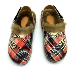 Unused 526151 Checkered Horsebit Loafers Slip-on Sandals Shoes Slippers