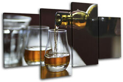 Whisky Bourbon Drink Bar Food Kitchen Multi Canvas Wall Art Picture Print