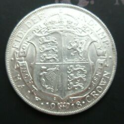 1918 George V Bare Head First Coin Half 1/2 Crown Spink 4011 Crowned Shield Cc1