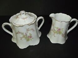 Creamer And Sugar Bowl W/ Lid Hutschenreuther Selb Lhs Pink Roses Bavaria Hut157