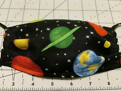 KID CHILD Face Mask SPACE PLANETS SOLAR SYSTEM Cloth Washable same day ship $8.95