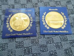 Lot Of 2 Monticello And Chief Justice John Marshall 22ct Gold Plated Medal