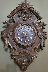 Antique French Black Forest Carved Oak Large Parlor Clock Winged Gargoyles Read