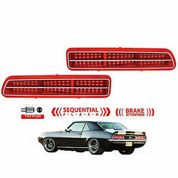 1969 Chevy Camaro Red Led Sequential Right And Left Tail Brake Light Lamp Pair