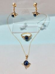 Antique Natural Blue Star Sapphire Diamond Set Necklace Ring Earrings 14k Gold 7