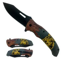 4.5quot; Black Blade Wolf Handle Assist Open Folding Knife