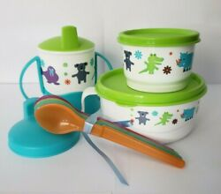 Tupperware Baby Feeding Set Eco Baby Animals Spoons Sippy Cup Mini Bowl