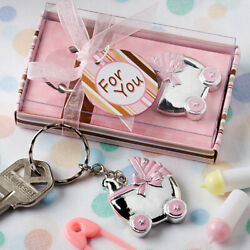 Baby Shower Favors Pink Baby Carriage Design Key Chains Keychains Baby Girl Gift