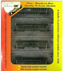 N Mdc Roundhouse 89416 50and039 Overland Atandsf 4-car Pass Set Rapido+knuck Cplr Nib