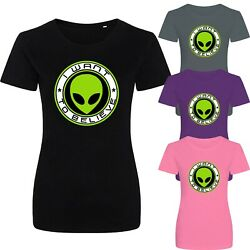 I Want To Believe Large Print Funny Alien Space Slogan New Womens T-shirt