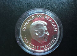 Ronald W. Reagan Our Great President Silver Art Medal D9159