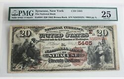 Very Rare 1882 Brown Back 20 Bill Syracuse National Bank Pmg Certified And Graded