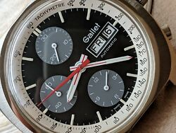 Vintage Gallet Day-date Multichron Chronograph W/divers All Ss Caseruns Strong