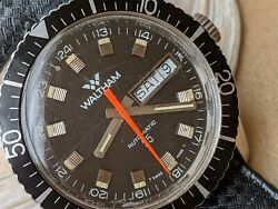 Vintage 1976 Waltham Day-date Diver W/patina,all Ss Case,runs Strong,box,papers