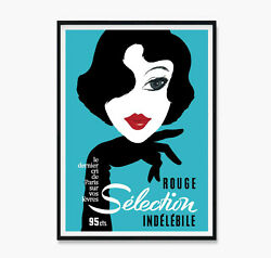 Rouge Selection Vintage Poster French Art Aqua Teal Blue Print Poster Canvas
