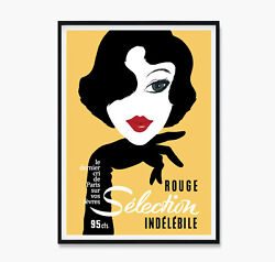Rouge Selection Vintage Poster French Art Yellow Lemon Print Poster Canvas