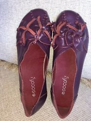 Womens Eggplant Purple Leather Socofy Shoes super cute size 245=US 7.5 $20.00